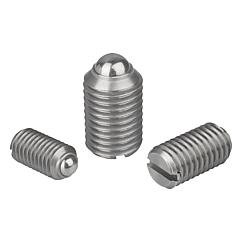 Spring plungerswith slot and ball, stainless steel