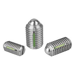 Spring plungerswith slot and ball, LONG-LOK secured, stainless steel
