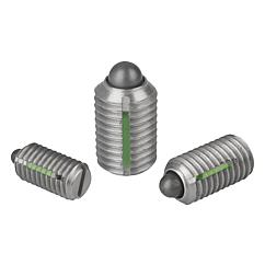 Spring plungers with slot and thrust pin, LONG-LOK secured, stainless steel
