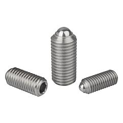 Spring plungers with hexagon socket and ball, stainless steel