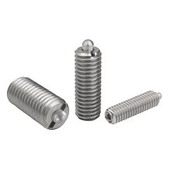 Spring plungers with hexagon socket and thrust pin, stainless steel