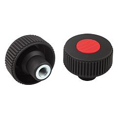 Knurled knobs with internal thread, Form K
