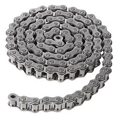 Roller chains single stainless steel DIN ISO 606, curved link plate