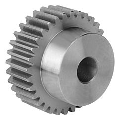 Spur gears in steel, module 1.5toothing milled, straight teeth, engagement angle 20°