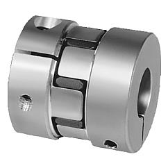 Elastomer dog couplings with radial clamping hub