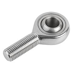 Rod ends with plain bearing external thread, stainless steel