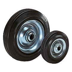 Wheelsrubber tyres on steel plate rims