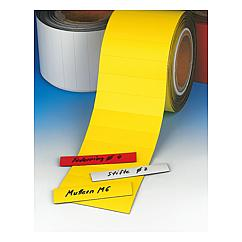 Magnetic labels on a roll, perforated