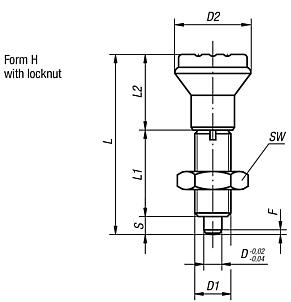 Indexing plungers without collar, Form H