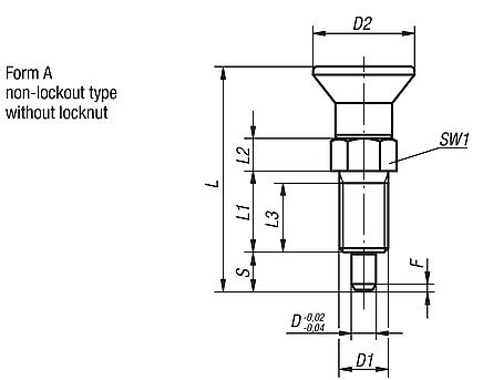 Indexing plungers with extended locking pin, Form A