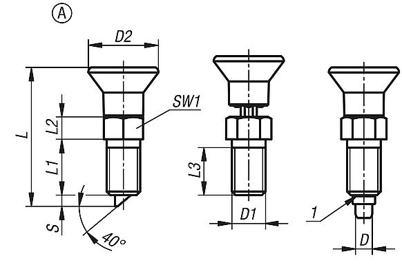 Indexing plungers with rotation lock and lead-in chamfer, Form A