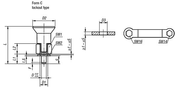 Indexing plungers for thin-walled parts Form C