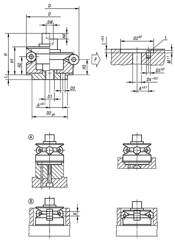 Centring clamps with ball or hexagon segments