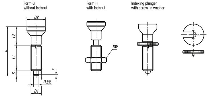 Indexing plungers, stainless steel, without collar