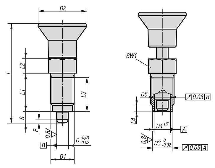 Indexing plungers - Premium with cylindrical pin