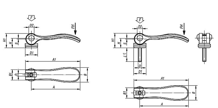 Cam levers internal and external thread, steel or stainless steel