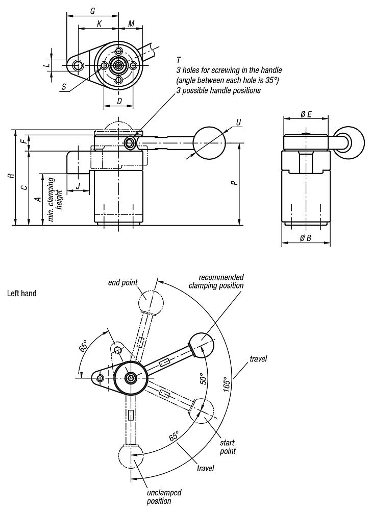 Swing clamps, left version