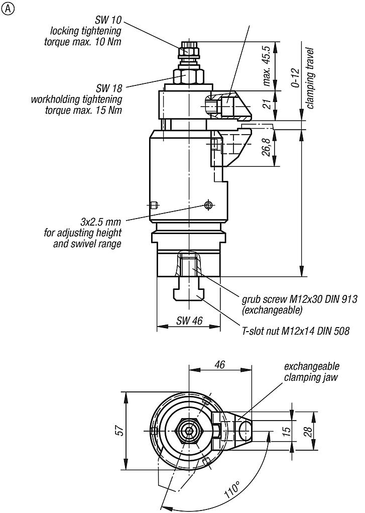 Floating clampwith separate workpiece clamp and interlock