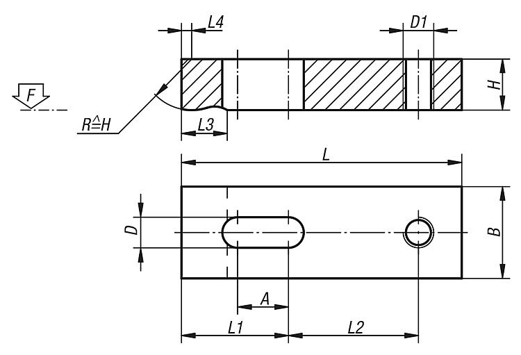 Clamp straps tapped-heel | norelem