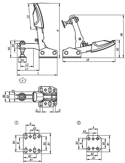 Toggle clamps variable vertical with horizontal foot