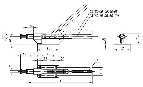 Toggle clamps horizontalwith push rod