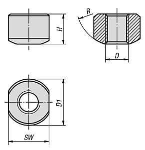 Spherical seating nuts