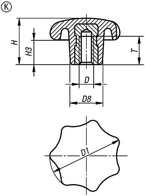 Star grips similar to DIN 6336 with internal thread, Form K