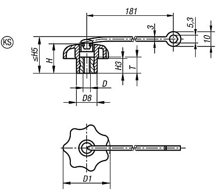 Star grips with safety band similar to DIN 6336, internal thread, Form KS