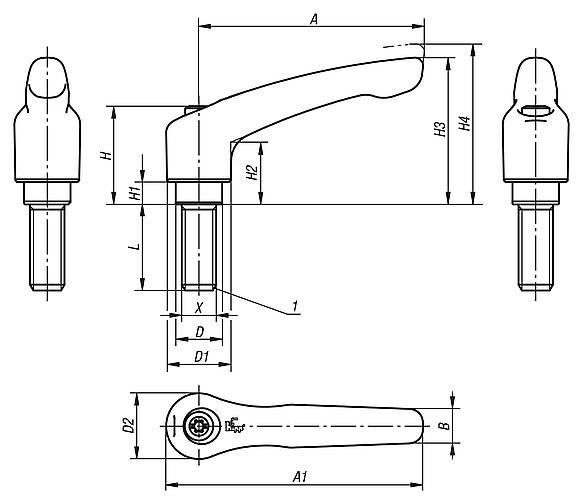 Clamping leverswith external thread, stainless steel