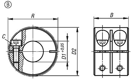 Shaft collars one-piece, wide, Form B