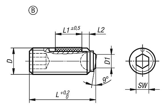 Ball-end thrust screws without headwith flattened ball LONG-LOK secured