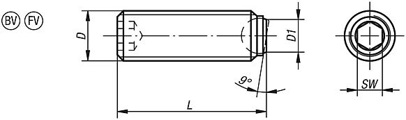 Ball-end thrust screws without head with flattened ball and rotation lock