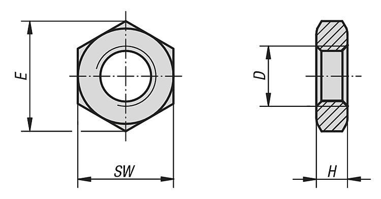 Half Nuts DIN 439 M6 M8 M10 M12 M16 M20 M24 M30 Jam Zinc Plated Grade 4 Thin