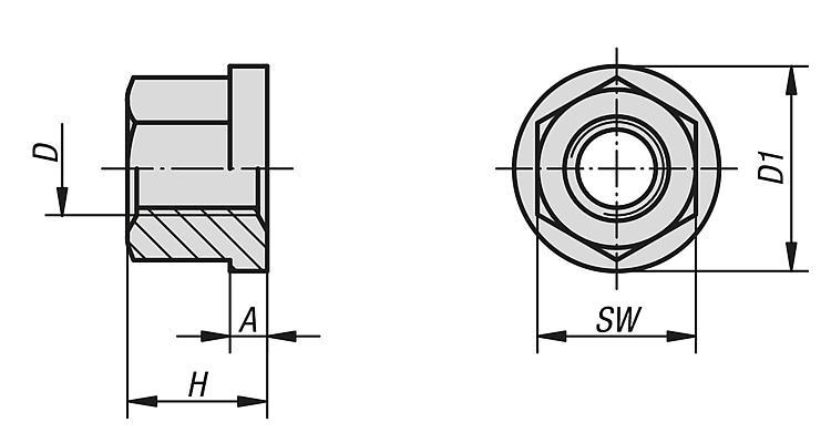 opzionale Dadi piatti Dado esagonale M8x22 Dadi esagonali per mobili con manicotto a testa tonda 30 pezzi Divano Dadi esagonali piatti per il collegamento di mobili Nichel placcato ferro M6 M8