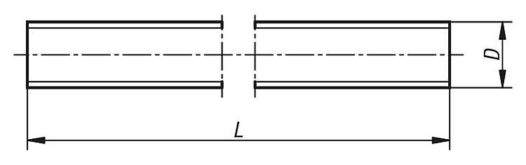 Barra de rosca din 976-1 10.9 acero Blank forma a 1000 mm de largo m 24-1 unid.