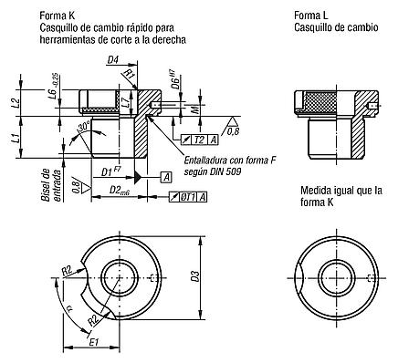 Casquillos insertables DIN 173, parte 1