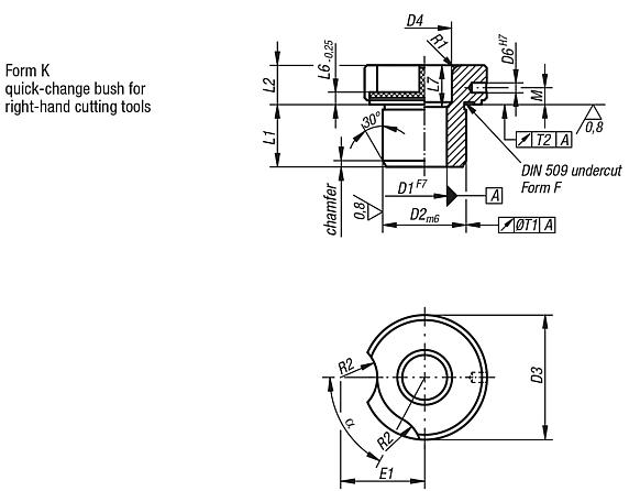 Push-in drill bushes, DIN 173, part 1, Form K