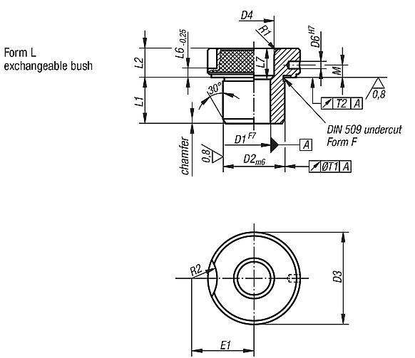Push-in drill bushes, DIN 173, part 1, Form L