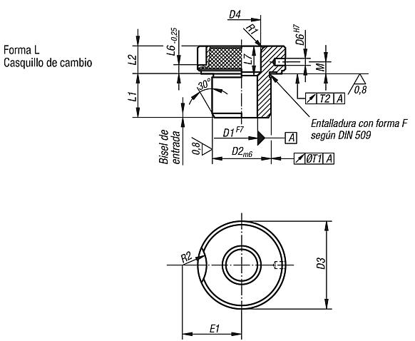 Casquillos insertables DIN 173, parte 1, forma L