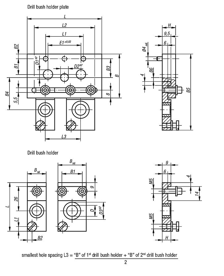Drill bush holder plates for drilling jig for cylindrical parts