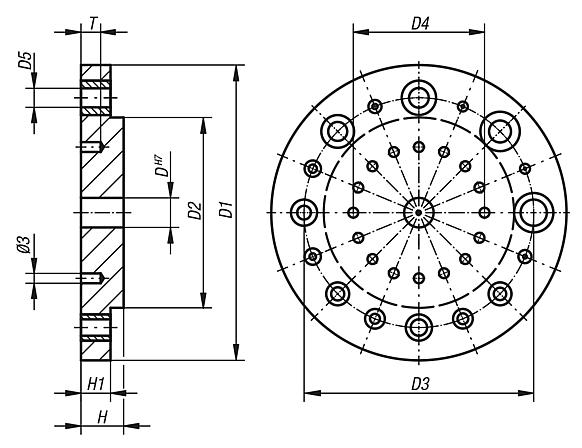 Index drilling discsfor drilling jig for cylindrical parts