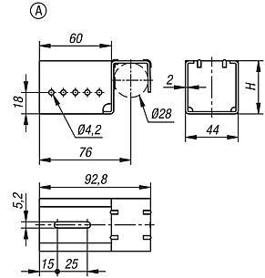 Steel suspension brackets for roller rails, Form A, without stop