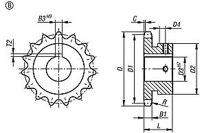 "Sprockets single 5/8"" x 3/8"" DIN ISO 606, ready to install Form B"