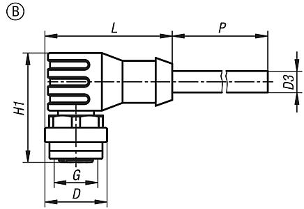 Connectors with screw fitting, Form B, angled bush