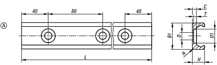 Roller guide rails Form A for fixed bearings
