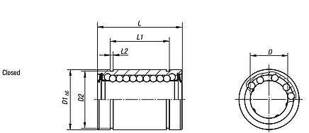 Linear ball bearings with plastic cage, closed