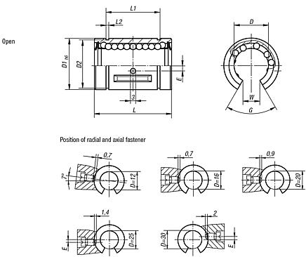 Linear ball bearings with steel cage, open