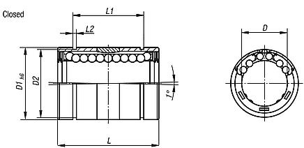 Linear ball bearings with angle error adjustment, high basic load rating, closed