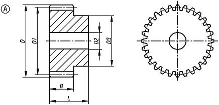 Steel spur gears, module 1, milled toothing, straight-toothed, 20° engagement angle, Form A, with hub