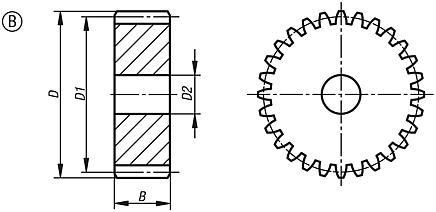 Steel spur gears, module 1, milled toothing, straight-toothed, 20° engagement angle, Form B, without hub